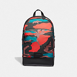 SLIM BACKPACK WITH CAMO PRINT - F67945 - RED MULTI/BLACK ANTIQUE NICKEL