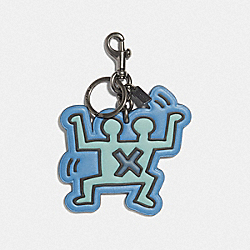 KEITH HARING DOUBLE HUMAN BAG CHARM - F67955 - DENIM MULTI/BLACK ANTIQUE NICKEL