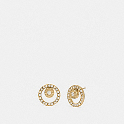 OPEN CIRCLE HALO STUD EARRINGS - F68009 - GOLD