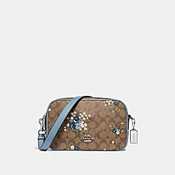 JES CROSSBODY IN SIGNATURE CANVAS WITH FLORAL BUNDLE PRINT - F68021 - KHAKI BLUE MULTI/SILVER
