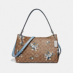 MIA SHOULDER BAG IN SIGNATURE CANVAS WITH FLORAL BUNDLE PRINT - F68022 - KHAKI BLUE MULTI/SILVER