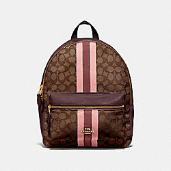 MEDIUM CHARLIE BACKPACK IN SIGNATURE JACQUARD WITH STRIPE - F68034 - BROWN MULTI/IMITATION GOLD