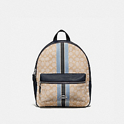 MEDIUM CHARLIE BACKPACK IN SIGNATURE JACQUARD WITH STRIPE - F68034 - KHAKI MULTI /SILVER