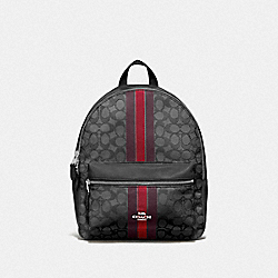 MEDIUM CHARLIE BACKPACK IN SIGNATURE JACQUARD WITH STRIPE - F68034 - RED MULTI/SILVER