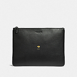 COACH F68039 Lunar New Year Large Pouch BLACK/BLACK ANTIQUE NICKEL