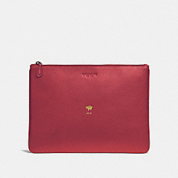 COACH F68039 Lunar New Year Large Pouch TRUE RED/BLACK ANTIQUE NICKEL
