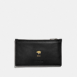LUNAR NEW YEAR ZIP CARD CASE - F68040 - BLACK/BLACK ANTIQUE NICKEL