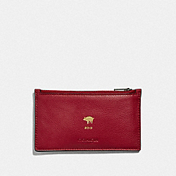 LUNAR NEW YEAR ZIP CARD CASE - F68040 - TRUE RED/BLACK ANTIQUE NICKEL