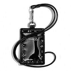 COACH F68072 - STUDDED LIQUID GLOSS LANYARD ID CASE SILVER/BLACK
