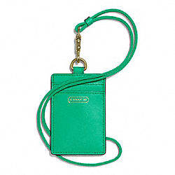 COACH F68075 Darcy Lanyard Id Case In Leather BRASS/JADE