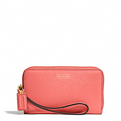 COACH F68079 Darcy Leather East/west Universal Phone Case BRASS/CORAL