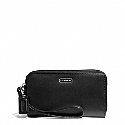 COACH F68079 Darcy Leather East/west Universal Phone Case SILVER/BLACK