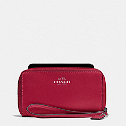 COACH F68079 Darcy Leather East/west Universal Phone Case SILVER/RED