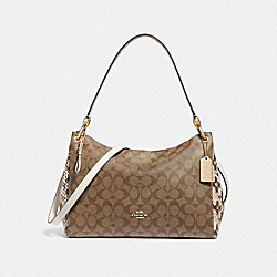 MIA SHOULDER BAG IN SIGNATURE CANVAS - F68093 - KHAKI MULTI /IMITATION GOLD