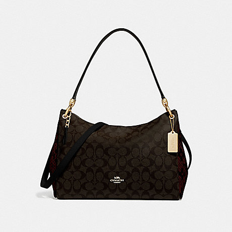 COACH F68093 MIA SHOULDER BAG IN SIGNATURE CANVAS<br>蔻驰MIA肩袋子签名画布 棕黑/MULTI/仿金