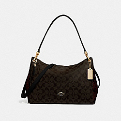 MIA SHOULDER BAG IN SIGNATURE CANVAS - F68093 - BROWN BLACK/MULTI/IMITATION GOLD