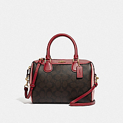 COACH F68100 - MINI BENNETT SATCHEL IN COLORBLOCK SIGNATURE CANVAS BROWN BLACK/PINK MULTI/IMITATION GOLD