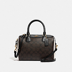 MINI BENNETT SATCHEL IN COLORBLOCK SIGNATURE CANVAS - F68100 - IM/BROWN BLACK/NEUTRAL MULTI