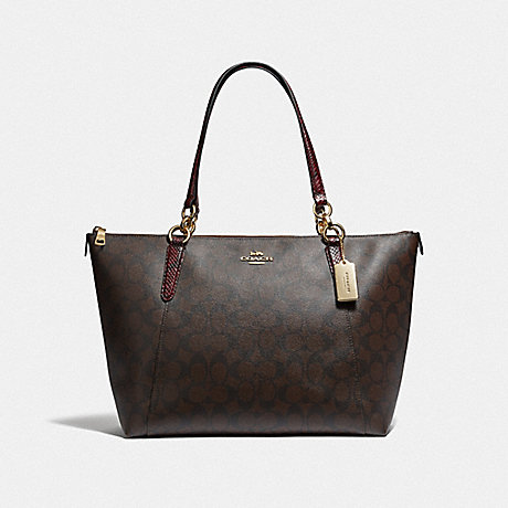 COACH F68103 AVA TOTE IN SIGNATURE CANVAS<br>蔻驰AVA手在签名画布 棕黑/MULTI/仿金