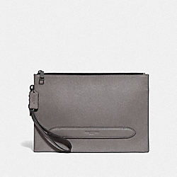 COACH F68154 Structured Pouch QB/HEATHER GREY