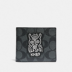 KEITH HARING 3-IN-1 WALLET IN SIGNATURE CANVAS WITH MOTIF - F68217 - CHARCOAL/BLACK/BLACK ANTIQUE NICKEL
