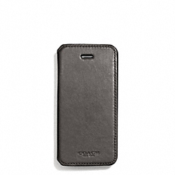 COACH F68277 Bleecker Leather Iphone Case With Stand GRANITE
