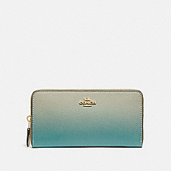 COACH F68295 Accordion Zip Wallet With Ombre GREEN MULTI/IMITATION GOLD