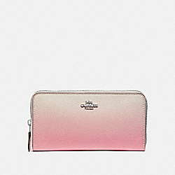 COACH F68295 Accordion Zip Wallet With Ombre PINK MULTI/SILVER