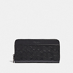 COACH F68392 - TRAVEL WALLET IN SIGNATURE LEATHER BLACK/BLACK ANTIQUE NICKEL