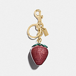 COACH F68418 Strawberry Bag Charm MAGENTA/GOLD