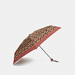 COACH F68467 - MINI UMBRELLA WITH SIGNATURE TOSSED PEONY PRINT KHAKI/CORAL/SILVER