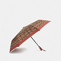 COACH F68468 - UMBRELLA WITH SIGNATURE TOSSED PEONY PRINT KHAKI/CORAL/SILVER