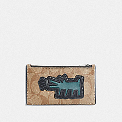 COACH F68470 - KEITH HARING ZIP CARD CASE IN SIGNATURE CANVAS WITH MOTIF KHAKI/MULTI/BLACK ANTIQUE NICKEL