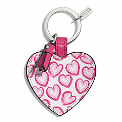 COACH F68561 Heart Print Heart Key Chain