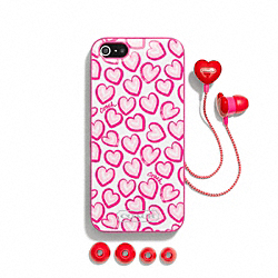 COACH F68616 Heart Print Iphone 5 Case And Ear Bud Set