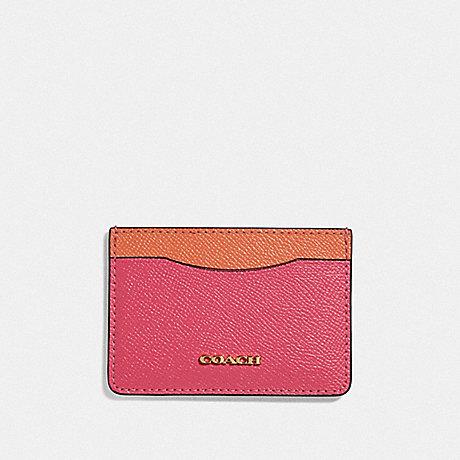 COACH F68620 CARD CASE RUBY/GOLD