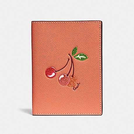 COACH F68621 PASSPORT CASE WITH CHERRY LIGHT CORAL/GOLD