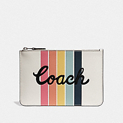COACH F68622 Pouch With Rainbow Coach Print CHALK/SILVER