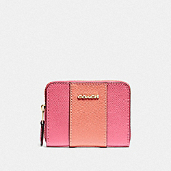 COACH F68623 Mini Zip Around Card Case In Signature Canvas RUBY/GOLD