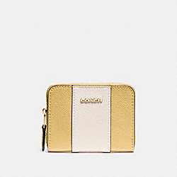 COACH F68623 Mini Zip Around Card Case In Signature Canvas SUNFLOWER/GOLD