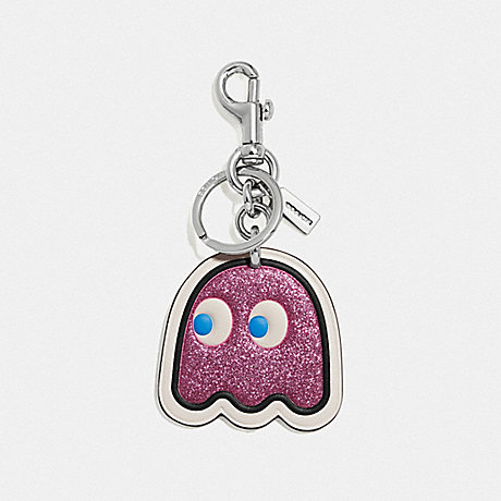 COACH F68648 PAC-MAN GHOST BAG CHARM PINK/SILVER