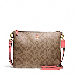 COACH F68658 Peyton Signature Tablet Crossbody BRASS/KHAKI/CORAL