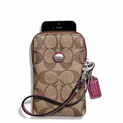 COACH F68660 Peyton Signature Universal Phone Case SILVER/KHAKI/MERLOT