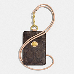 COACH F68661 Peyton Signature Lanyard Id Case BRASS/BROWN/TAN