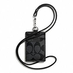 COACH F68664 - HERITAGE LANYARD IN SIGNATURE CHARCOAL/BLACK
