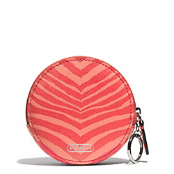COACH F68668 Zebra Print Coin Purse SILVER/HOT ORANGE