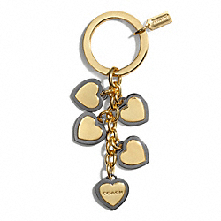 COACH F68724 Two-tone Heart Multi Mix Key Ring BRASS/MULTICOLOR