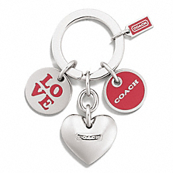 COACH F68751 - LOVE MULTI MIX KEY RING  SILVER/RED