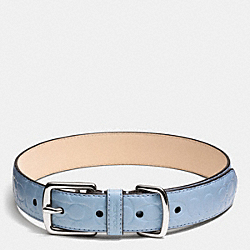 COLLAR IN SIGNATURE EMBOSSED LEATHER - f68776 - SILVER/WASHED OXFORD