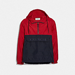 COACH F68803 Packable Half Zip Jacket SUMMER RED/DARK NAVY